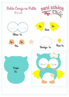 Fabric owls with free molds to print Craft Ideas Felt Animal Patterns, Owl Patterns, Applique Patterns, Stuffed Animal Patterns, Felt Owl Pattern, Owl Crafts, Paper Crafts, Decoration Creche, Owl Templates