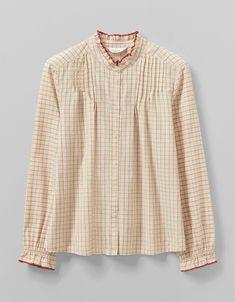 Check Cotton Pin Tuck Shirt | TOAST