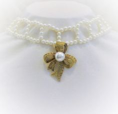 Pearl Necklace With Gold Tone Rhinestone Bow Pearl Choker Bow Necklace Wedding Necklace Bridal Necklace Assemblage Necklace