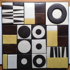 """pifano - Ceramic wall piece, """"Composition # 48 x 48 cm Ceramic Wall Art, Wall Sculptures, Wall Murals, Tiles, Mid Century, Pearl Necklaces, Black And White, Bauhaus, Business Ideas"""