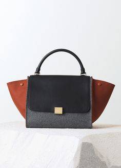 90b43c41e7 MEDIUM TRAPEZE BAG IN BRICK CALFSKIN  amp  FELT 30 X 24 X 15 CM (