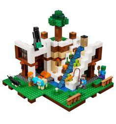 Lego Minecraft The Waterfall Base 21134 Minecraft Toys, Minecraft Creations, Minecraft Stuff, Minecraft Anime, Legos, Bloc Lego, Minecraft Bedroom Decor, Waterfall House, Lego Knights