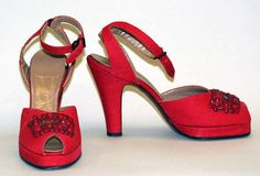 What they lack in platform height, these 1940s platforms make up for in color, bead decorations, and ankle straps.