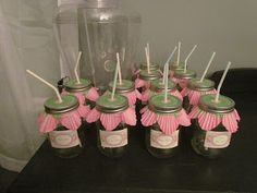 Mason Jars with flower cupcake liners for Fairy Party