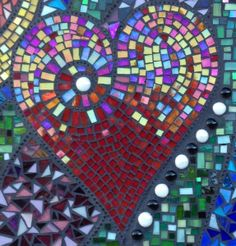 Heart - Iridescent Red Stained Glass Mosaic Tiles