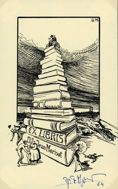 bookplate for Jean Morisot ... depicts stack of books towering over human figures