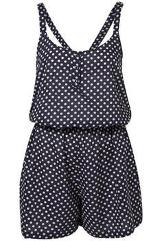 Navy Polka Dot Strappy Cover Up Playsuit  Topshop. LOVE! beach...here I come <3