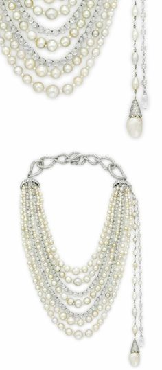 A glorious multi-strand natural pearl and diamond necklace: 216 natural pearls strung on seven strands with glittering rose cut diamonds. And just look at that side tassel!   How incredibly glamorous would this be on a bride??