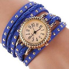 Bohemian Leather Wrap Bracelet Watch in Royal Blue
