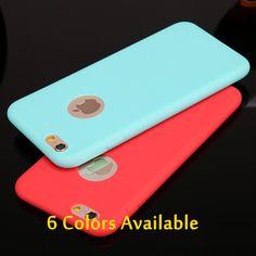 새로운 도착 캔디 컬러 케이스 iphone6 6 초 6 플러스 6 sPlus 5 5 초 SE 소프트 TPU 실리콘 전화 케이스 Coque 로고 창 액세서리