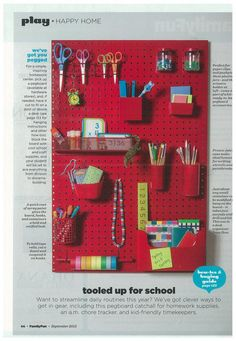 Isn't  this a cool idea to help your child be organized with their homework tools.  Pegboard idea for over desk.  Help make homework easier!
