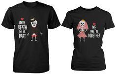 Cute Couple Shirts for Halloween - Skeleton Bride and Groom - $30.99. https://www.tanga.com/deals/e2b761e0cbed/cute-couple-shirts-for-halloween-skeleton-bride-and-groom