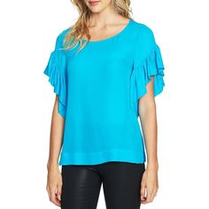 Cece Women's Extend Flutter Sleeve Seersucker Blouse ($79) ❤ liked on Polyvore featuring tops, blouses, ocean, seersucker blouses, blue blouse, seersucker top, short sleeve pullover and short sleeve ruffle blouse