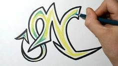 How to draw wild graffiti letter - N