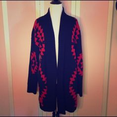Aztec Print Thick Cardigan. Brand new, never worn with tags, Aztec black and red sweater. Sweaters Cardigans