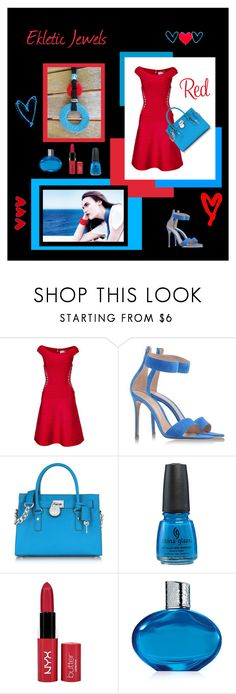"""""""red, blue and black...- Ekletic Jewels"""" by sandychic on Polyvore featuring moda, Hervé Léger, Gianvito Rossi, Michael Kors, Elizabeth Arden e rustic"""