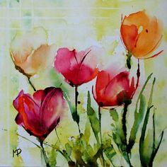 Petit format 17 (Peinture), par Véronique Piaser-Moyen- Aquarelle originale peinte sur toile