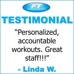 Thanks for the great review, Linda!  Come get your fitness on at Fitness Together in Novi, MI!  Get personal one-on-one-training, a nutrition guideline, and other services that will change your life for the better!  Call (248) 348-9230 or visit our website www.fitnesstogether.com/novi for more information!