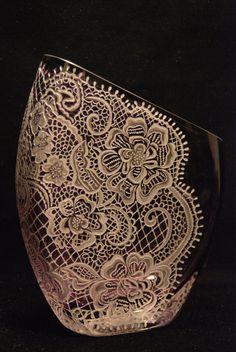 Etched vintage glass vase by oswaldesigns on Etsy, $285.00