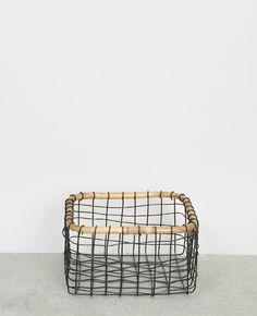 Panier métal et bambou - Un panier déco qui mixe métal et bambou : on aime !