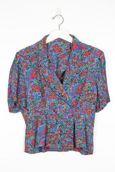 403c0b1e5056f Vintage Secretary Blouse 1980s Blouse Blue Red Green Floral Print V Neck  Wrap Double Breasted Peplum