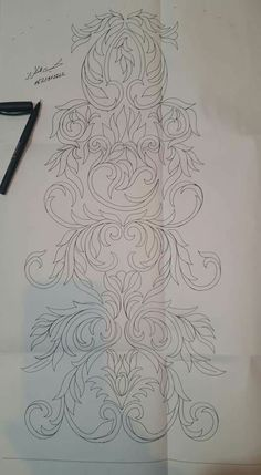 Drawing by --Talbi***Mohamad Border Embroidery Designs, Floral Embroidery Patterns, Embroidery Motifs, Tambour Embroidery, Stencil Decor, Zardozi Embroidery, Fathers Day Crafts, Crochet Motif, Fabric Painting