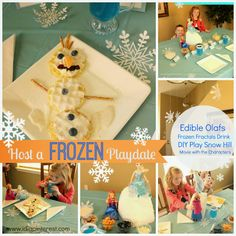 Disney FROZEN Playdate Ideas. Edible Olafs, Frozen Fractals Drink and more!  #shop