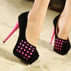 Rose Red Elegant Howllow-out Squares Waterproof Women's Heels Prom Shoes