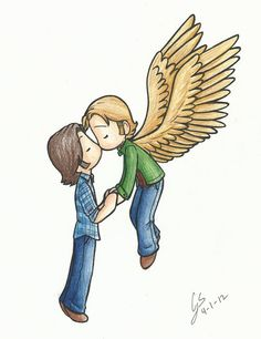 Sabriel<<<I don't really ship them, but this is a cute pic of Sam and Gabriel...<3