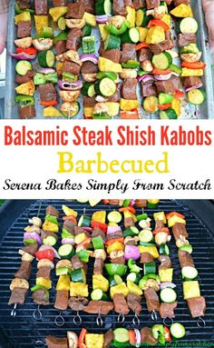 Balsamic Steak Shish Kabobs a summer time favorite. Kabob Recipes, Grilling Recipes, Beef Recipes, Cooking Recipes, Healthy Recipes, Shish Kabobs, Skewers, Easy Healthy Dinners, Entrees