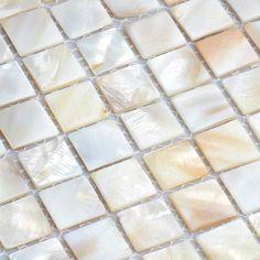 shell tiles natural seashell mosaic mother of pearl tile kitchen backsplash tile design Pebble Mosaic Tile, Tile Projects, Tile Design, Kitchen Backsplash, Shell, Pearl, Natural, Green Products, Trends 2018