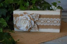 Rustic Centerpiece Box/ Rustic Chic by MyRusticWeddings on Etsy, $29.95  No burlap