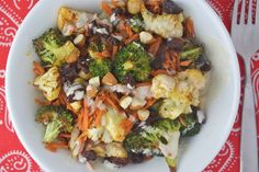 Roasted Broccoli and Cauliflower Tahini Salad - making this beauty for dinner tonight #vegan #glutenfree