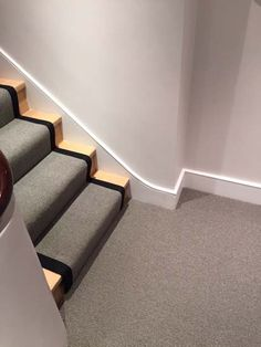 Client: Private Residence In North London Brief: To supply & install grey stair carpet with black border to stairs Grey Stair Carpet, Wall Carpet, Diy Carpet, Carpet Stairs, Stairway Lighting, Hardwood Floors, Flooring, Cheap Carpet Runners