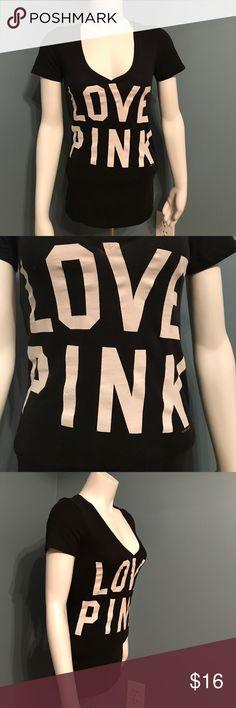 """Pink Victoria's Secret black v neck LOVE PINK tee Deep v  short sleeve black tee. Front says """"Love Pink"""" back says """"86"""" size xs PINK Victoria's Secret Tops Tees - Short Sleeve"""