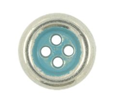 Silver Metal Hole Buttons with Greenish Blue Painting - 11mm - 7/16 inch