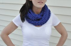 Crochet Scarf/Cowl in Cobalt by LilBumpkinsBoutique on Etsy