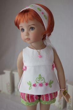 """""""Splendid Summer"""", OOAK outfit made for Effner's Little Darling dolls.  cindyricedesigns.com"""