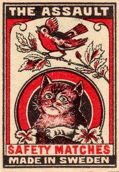 """Matchbox, """"The Assault"""" Safety Matches, Made in Sweden. Vintage Cat, Vintage Labels, Vintage Ephemera, Vintage Posters, Vintage Clocks, Antique Clocks, French Vintage, Label Art, Arte Punk"""