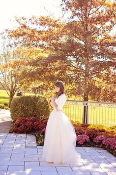Long Sleeve Wedding Dress, Tulle Ball Gown - Michelle Style - Avail & Company, LLC   Modest Vintage Puffy Tulle Wedding Dress with a Pastel Pink Bow and elegant elbow sleeves. A puffy skirt made of tulle that gracefully flows down. Perfect for a Country Wedding.