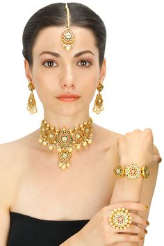 Gold plated crystal and pearl round choker five piece set available only at Pernia's Pop-Up Shop
