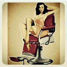 Lady in barber chair.
