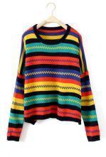 Dark Multi Long Sleeve Striped Pullovers Sweater $31.68