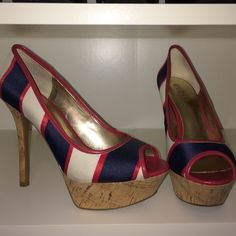 "Guess Shoes Red, white and blue patriotic heels! Cork platform and heel. Heel is appx. 5"" and platform is appx. 1.5"". Worn once! Had a shoe obsession for a bit and need to make more room in my closet! Guess Shoes Heels"