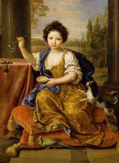 Portrait of Louise Marie Anne de Bourbon, legitimised daughter of King Louis XIV of France and his mistress Athénaïs, Louise de La Vallière blowing bubbles with her dog and a bird, by Pierre Mignard (French artist, Louis Xiv, Bourbon, King Charles Spaniel, Cavalier King Charles, French History, Art History, European History, Photo Chateau, Ludwig Xiv