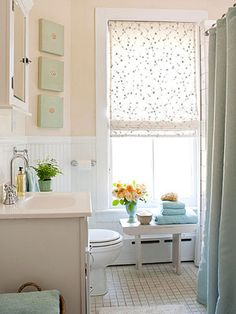 Small Bathroom Remodeling ~ I like the soft color coordination. It makes a small area look larger and brighter.
