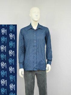Vintage 70s Polyester Navy Disco Shirt, Mens Retro Shirt, ESM Logo Print, Big Collar, Butterfly Collar, Long Sleeve Shirt, Size L