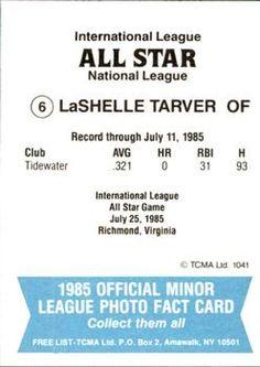 1985 TCMA International League All-Stars #6 Laschelle Tarver Back