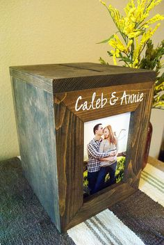 Wedding Card Box Rustic Photo Framed card box by Woodlandedges