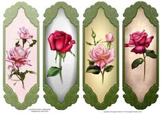 4 Single Pink Roses Toppers Bookmarks on Craftsuprint designed by Anne Lever…
